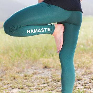 Yoga Leggings - Namaste Leggings - Yoga Pants - Yoga - Yoga Legging - Yoga Leggins - Women's Yoga Leggings - Green Leggings-Green Yoga Pants
