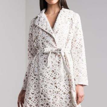 AKIRA Long Sleeve Belted Laser Cut Trench Coat in White