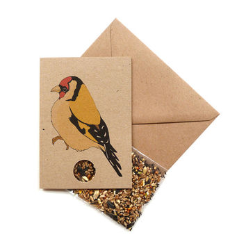 Goldfinch card with bird seed inside!