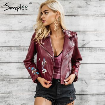 Embroidery black leather jacket women Zipper motorcycle faux leather coat Winter fashion biker jacket outerwear & coats
