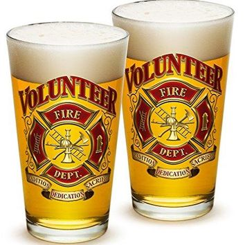 Pint Glasses – Firefighter Gifts for Men or Women – Volunteer Firefighter Beer Glassware – Beer Glasses with Logo - Set of 2 (16 Oz)