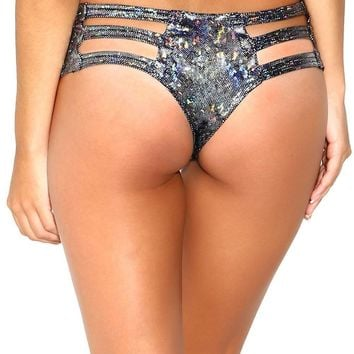 Hologram Micro Cut Out Booty Shorts