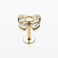 Golden Dainty Bow-Tie Top Steel Labret