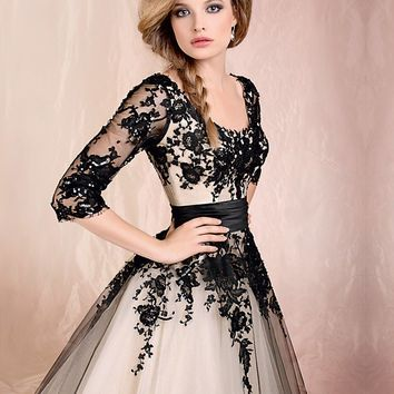 WowDresses — Black Lace Ball Gown Round Neckline Half-sleeves Knee Length Prom Dress