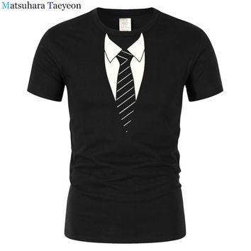 Tuxedo Necktie Men's T-Shirt By American Apparel Male Funny Cotton Tops Summer Print Men T Shirts Summer Hipster Clothing t78