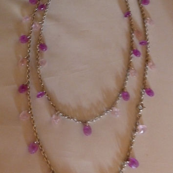 Vintage Sarah Coventry Purple Lavender Lilac Crystal Beaded Silver Necklace Extra Long Can be Layered Costume Jewelry