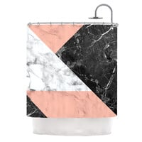 "KESS Original ""Geo Marble and Coral"" Black Art Deco Shower Curtain"