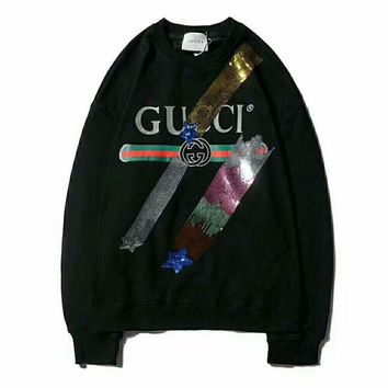 GUCCI Tide brand classic letter print sequins men's round neck sweater black