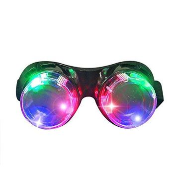 LED Flashing Windproof Glasses Light up Rave Costume Eyewear Cool Goggles Toys, Colorful LED Lights, Party Favors