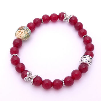 "Garnet Gemstone Stretch Bracelet Silver Plated Pewter Porcelain Beaded ""Faerie Face"" Jewelry Fall Fashion"