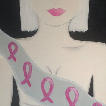 Breast Cancer Awareness Original Painting Titled-All Of Me. Original Acrylic Modern Art Painting by Jodilynpaintings. 16x20 Stretched Canvas