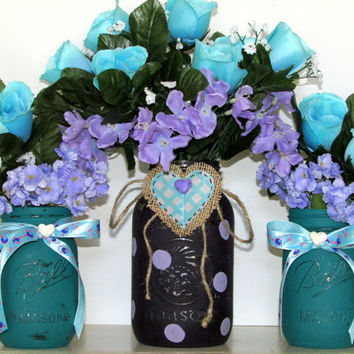 Purple and teal painted mason jars, painted mason jar, rustic wedding, decorated mason jar, shabby chic, country, decorated mason jars, aqua