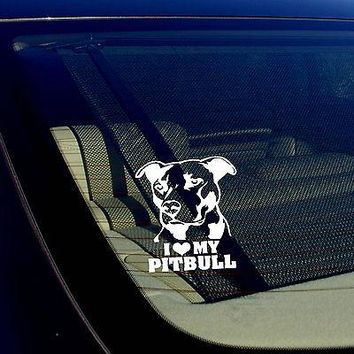 I Love My Pitbull Decal Sticker Car Smooth Surfaces