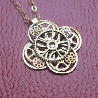 "Clockwork Flower Necklace ""Floret"" Elegant Recycled Steampunk Gear Pendant Mechanical Plant Pendant Petal Clover Luck Gift"