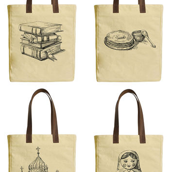 Set of Russia Icons Beige Print Canvas Tote Bags Leather Handles WAS_30
