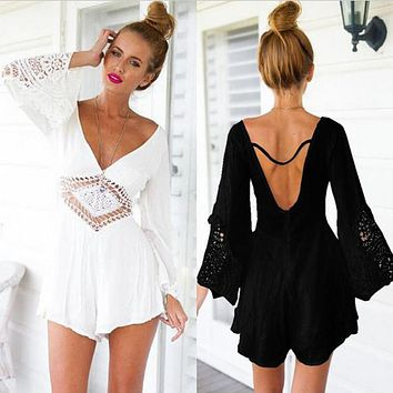 sexy lace crochet hollow out playsuit jumpsuit women V neck sexy backless white black lace long sleeve jumpsuit summer beach