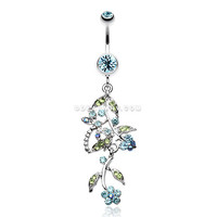 Romantic Vines with Flowers Belly Button Rings (Aqua)