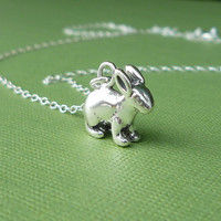 sterling bunny charm necklace
