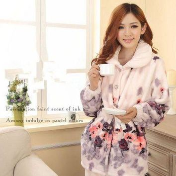 LMFCI7 New Autumn/winter flannel pajamas thickening women sets sleepwear sweet female girl flowers printing Indoor Clothing Home Suit