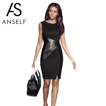 Anself 5XL Plus Size Women Bandage Dress PU Leather Splice O Neck Midi Bodycon Dress Sleeveless Elegant Slim Party Dress Black