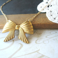 PHEOBE all tied up bow necklace gold by brideblu on Etsy