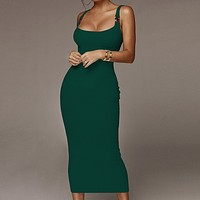 Summer new women's fashion pits solid color metal decorative strap dress Green