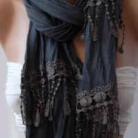 Grey and Elegance Shawl / Scarf by womann on Etsy