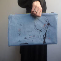 Large Canvas Clutch Bag, Light Blue Hand Painted  Clutch Bag, Unique Clutch, Canvas  Case, Bag organizer
