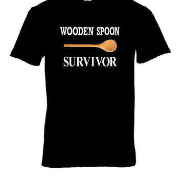 Funny Wooden Spoon Survivor TShirt, Awesome Gift Idea, Tee Shirt, Birthday, Christmas, Joke, Humor Clothing, Unisex Tops Tees, Funny