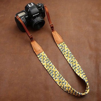 Handcrafted Flexibility Camera Strap/ SLR Camera Strap/ Cotton Camera Strap/ DSLR Camera Strap/ Nikon Canon Sony Camera Strap CAM8783-2