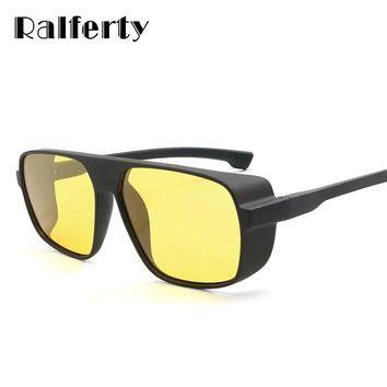 Ralferty HD Polarized Night Vision Glasses Men Yellow Lens Driver Safety Glasses Male Anti Glare Goggles Steampunk Goggles K1015