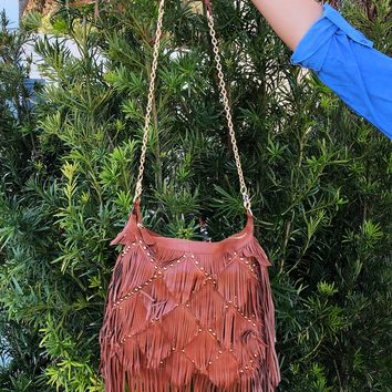 All About The Fringe Purse: Cognac