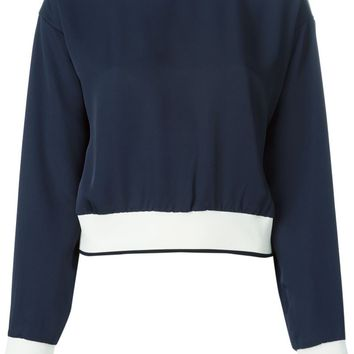 Theory contrast hem cropped sweater