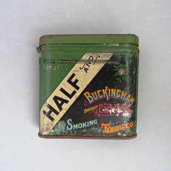 Vintage Half and Half Tobacco Tin, 1930s Buckingham Bright Cut Plug Collectible Smoking Tobacco Tin