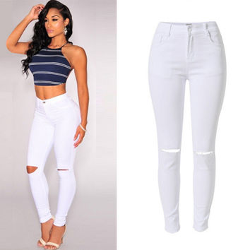 White Knee Hole Design Denim Pants