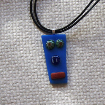 Colorful Fused Glass Funny Face Pendant. Wearable Art