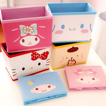 Cartoon Hello Kitty My Melody Cinnamoroll Dog Pudding Dog The Little Twin Star Cute Cosmetic Bags Toy Folding Storage Box Bag