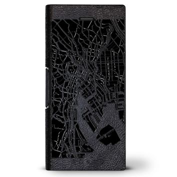 Tokyo Streets Map | Leather Series case for iPhone 8/7/6/6s in Hickory Black