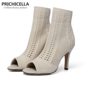 Prichicella genuine leather sexy beige high heel  open toe knitted stretch ankle boots sandals