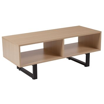 Hyde Square Collection Wood Grain Finish TV St Media Console Metal Legs