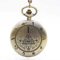 Retro Vintage Bronze Bill Cipher Gravity Falls Quartz Pocket Watch Analog Pendant Necklace Men Women Watches Chain Gift