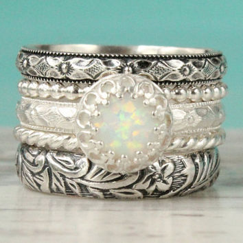 Opal stacking ring set of 5, sterling silver, stackable thick ring stack, engagement bridal rustic wedding band, white opal, vintage style
