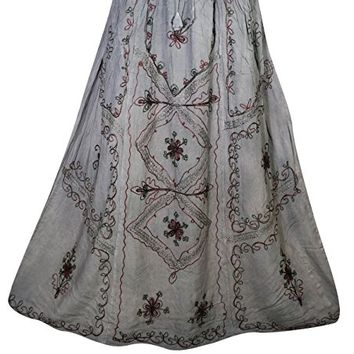 Mogul Womens Long Skirt Floral Embroidered Rayon A-Line Boho Flare Peasant Skirts (Grey 1)