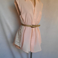 Light Peach Handmade One-Of-A-Kind Bikini Cover-up With Gorgeous Lace Side Panels
