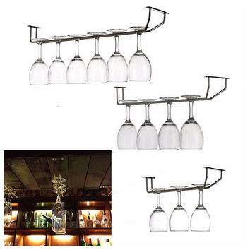 Funny Champagne Stemware Holder Chrome Plated Wine Rack Glass Cup Kitchen Wall Bar Hanger Enclosed Stainless Steel Screw