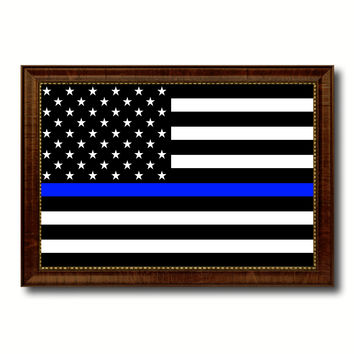 Thin Blue Line Honoring our Men and Women of Law Enforcement American Police USA Flag Canvas Print with Brown Picture Frame Home Decor Wall Art Gift Ideas