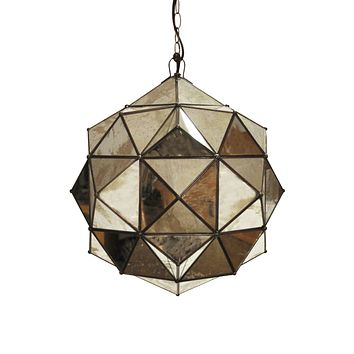 Worlds Away Valencia Faceted Round Pendant Light