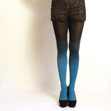 Ombre Tights gradient tights Hand dyed Teal and black by xsilk