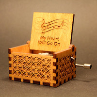 Engraved  wooden music box (My Heart Will Go On  - Celine Dion)