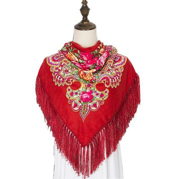 Russian Vintage Ethnic Style Large Square Scarf Women Winter Poncho  Autumn Printing Warm Bandana Women Long Tassel Scarf Shawls